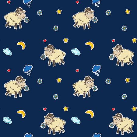 Vector seamless hand drawn cartoon sheep pattern Vector
