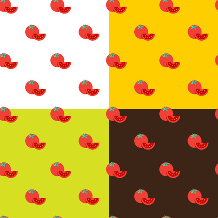 Vector flat tomatos seamless pattern on different backgrounds Vector