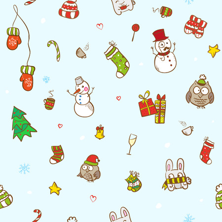 Vector christmas seamless patterns. Can be uses for Christmas card design, packaging, wrapping Vector