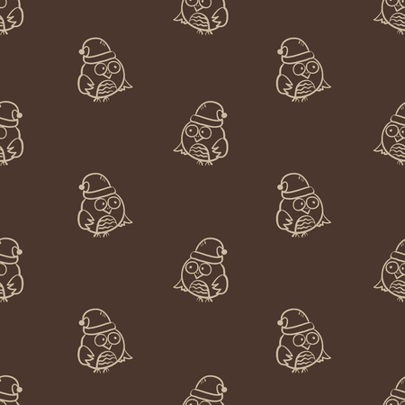 Vector seamless owl pattern. Can be used for Christmas or New Year pachaging, cards Vector