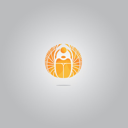 Vector gold scarab sign. Canbe used as logo