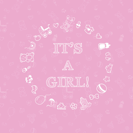 Vector baby shower design over pink background with seamless pattern. Its a girl Vector