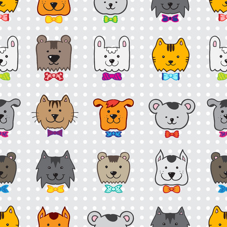 Vector bright hand drawn doodle cartoon animal heads seamless pattern in colorful bow-ties Vector