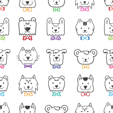 Vector hand drawn doodle cartoon animal heads seamless pattern in colorful bow-ties