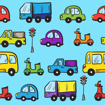 baby background: Vector hand drawn doodle cartoon cars seamless pattern