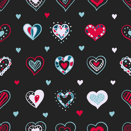 Vector bright hand drawn doodle hearts St Valentine Day seamless pattern. Can be used as birthday or wedding decoration