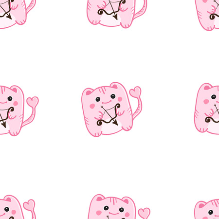 Vector St Valentine Day cute pink cupid monsters seamless pattern. Can be used as Wedding decoration. Vector
