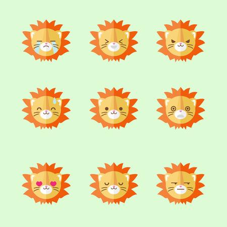 Vector minimalistic flat lion emotions icons set Vector