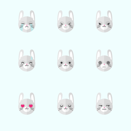 Vector minimalistic flat bunny emotions icons set Vector