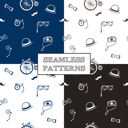 Vector hand drawn hipster seamless patterns set in doodle style Vector