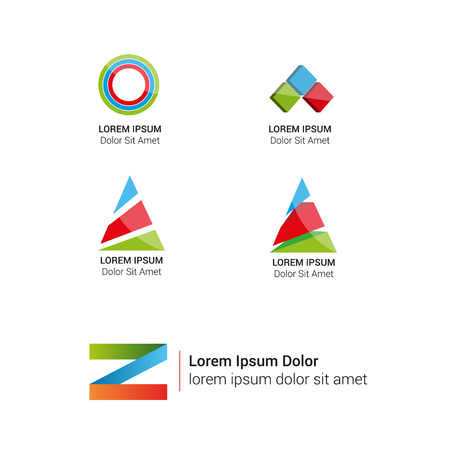 Vector bright abstract logos set. Corporate icons. Vector