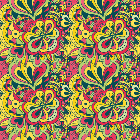 Vector doodle hand drawn abstract seamless floral pattern Vector