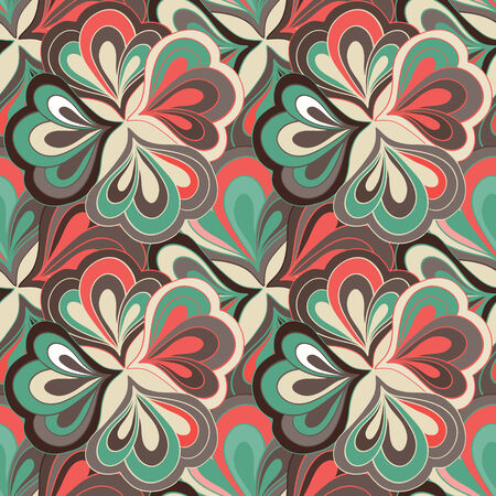 Vector doodle hand drawn abstract seamless floral pattern 일러스트