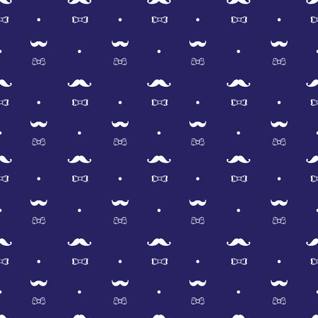 Vector hand drawn hipster seamless pattern in doodle style. Mustache and bow-tie seamless pattern