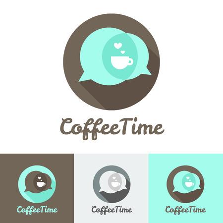 Vector moderna cafetería plana, cafetería o restaurante logo conjunto