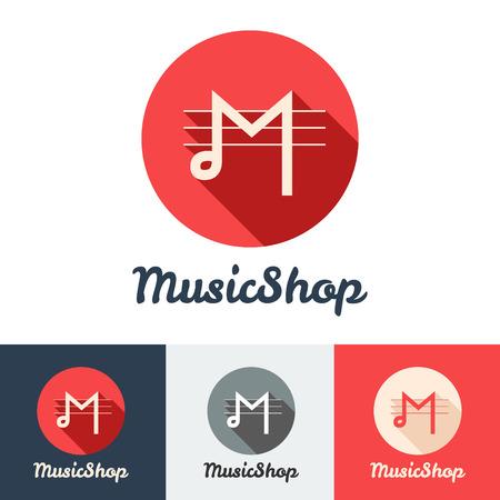 iconos de música: Vector plana tienda de música minimalista moderno o un estudio conjunto de iconos