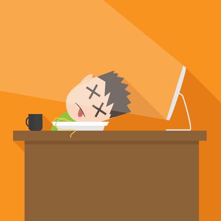 Vector flat simple cartoon illustration of tired man