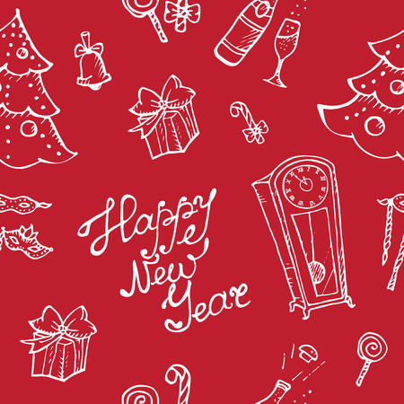 Vector doodle New Year seamless pattern in sketch style on red background Vector