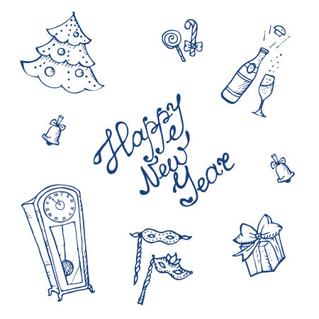 Vector doodle New Year elements collection in sketch style Vector