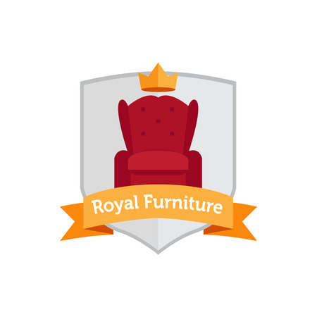 crown icon: Vector modern flat furniture shop . Armchair  Illustration
