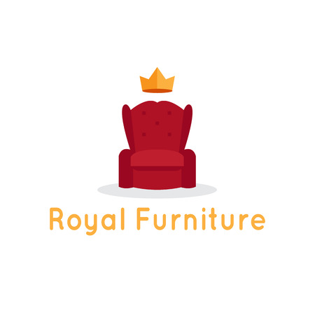 furniture shop: Vector modern flat furniture shop template. Red armchair with crown