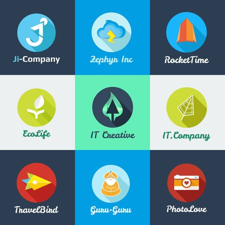 Vector modern flat start up templates collection. Start up icons set Vector