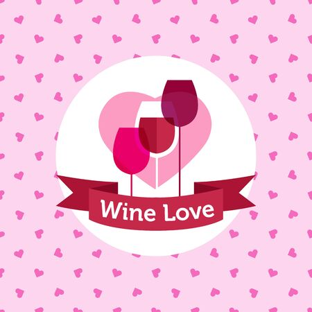 Vector pink wine shop or bar design with hearts seamless pattern Vector