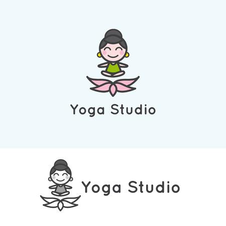 spa flower: Vector trendy minimalistic young girl cartoon character. Yoga studio
