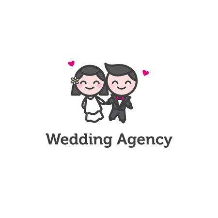 fiance: Vector funny cartoon bride and fiance   for wedding agency Illustration