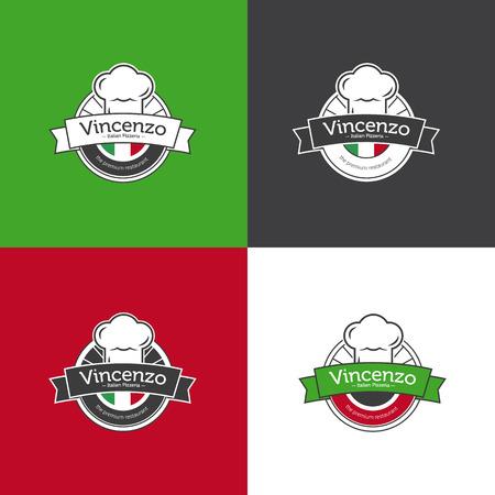 pizza chef: Vector retro classic badge for pizza restaurant. Italian restaurant