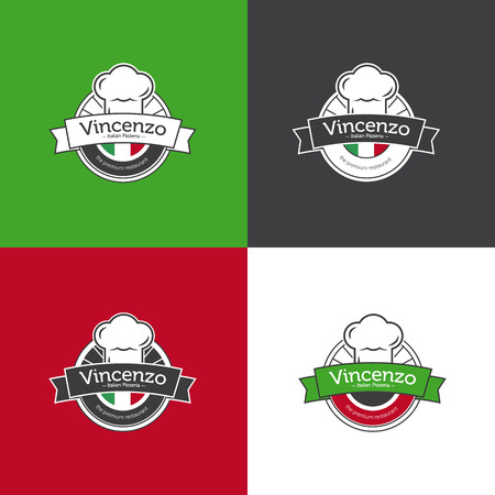 chef italiano: Vector retro insignia clásico para restaurante de pizza. restaurante italiano Vectores