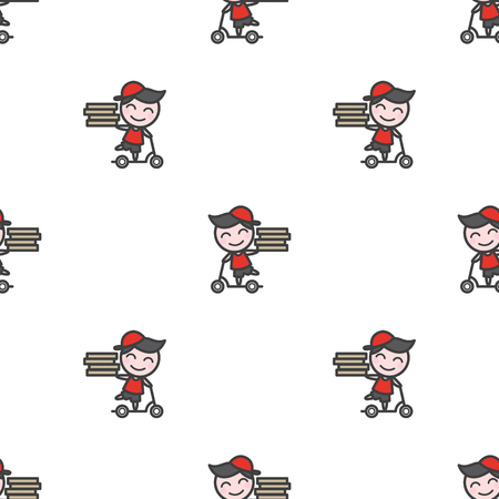 delivery boy: Vector trendy minimalistic young delivery boy character seamless pattern