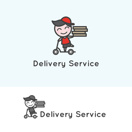 delivery man: Vector trendy minimalistic young delivery boy character.