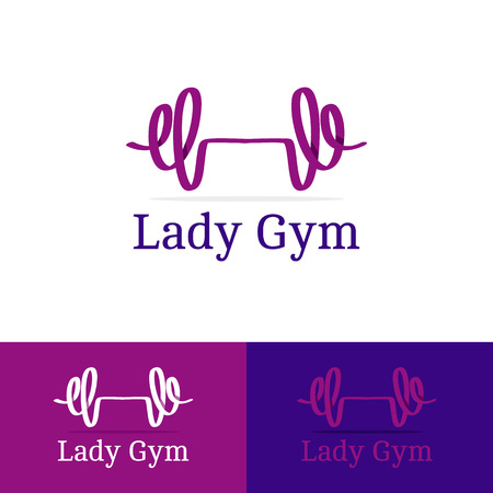 workout gym: Vector trendy ribbon dumb-bell lady gym  . Modern   in overlapping technique
