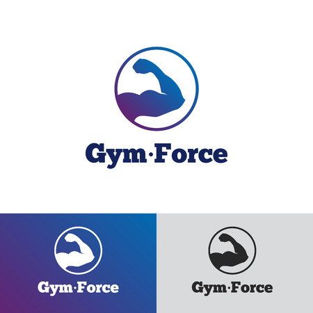 sports and fitness: Vector modern minimalistic gradient gym  . Fitness badge