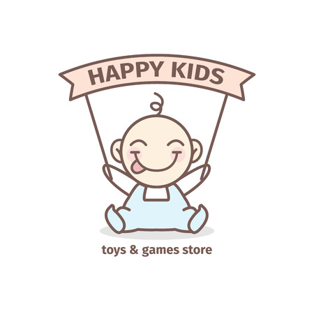 smart kid: Vector modern baby  . Toys and games store   in tender colors Illustration