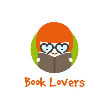 Vector funny cartoon girl in glasses  . Book store  .