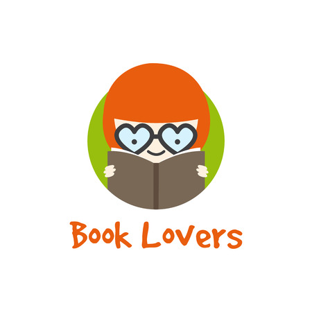 science text: Vector funny cartoon girl in glasses  . Book store  .