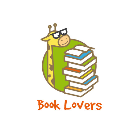 Vector funny cartoon giraffe logotype. Book store