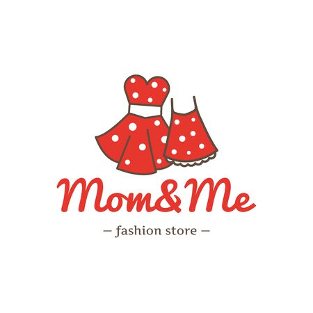 mom: Vector retro style two dresses for mother and daughter logotype.