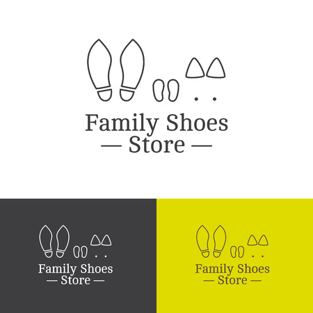 business shoes: Vector outline creative family shoes store logotype