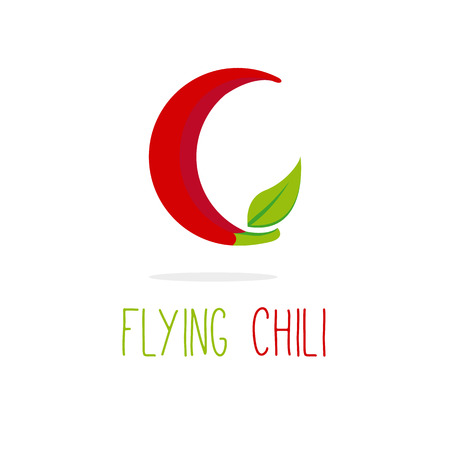 vitamin c: Vector creative C letter flying chili logotype Illustration