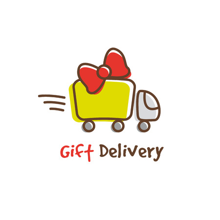 express delivery: Vector trendy cartoon gifts express delivery logotype. Truck logo.