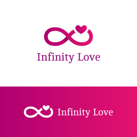 romantic: Vector trendy infinity sign with heart logotype.
