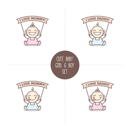 Vector cute baby boy and girl with I love Mommy and I love Daddy ribbons. Baby shower set.