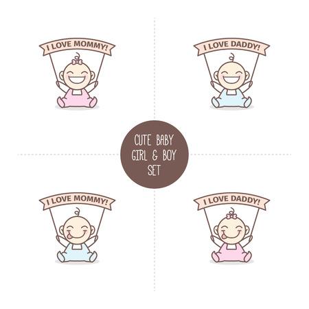 Vector schattige baby jongen en meisje met Ik hou van mama en ik hou van papa linten. Baby shower set.