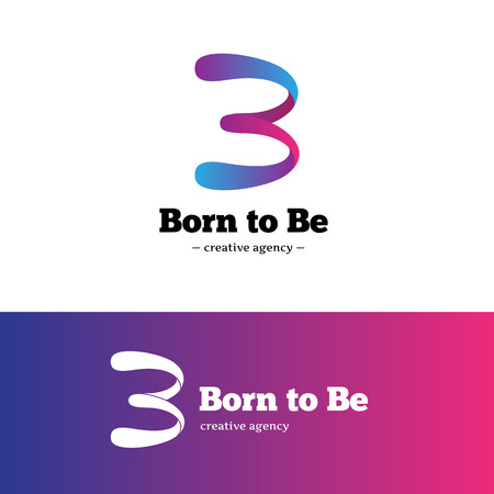b: Vector creative B letter logo. Gradient abstract blue and violet logotype.