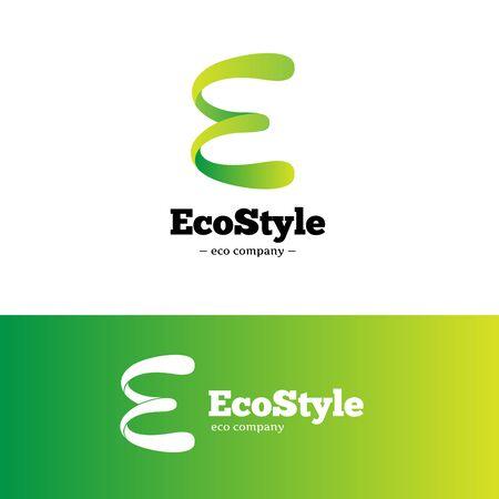 Vector modern green gradient E letter logo. Ecology logotype.