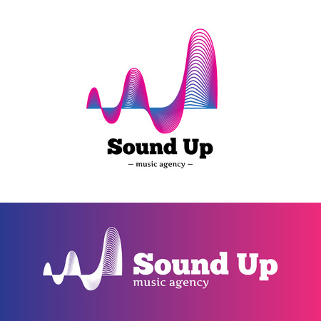 logo music: Vector modern abstract music logotype. Gradient blue and violet logo.