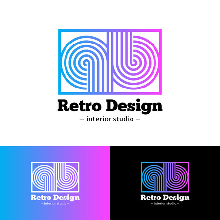 studio b: Vector modern bright abstract gradient logo. Q and B letters logotype with stripes in retro style